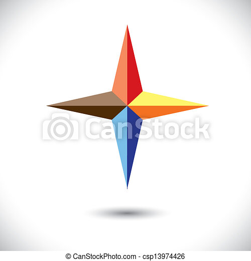 Colorful plus icon(positive sign) of triangles- vector graphic - csp13974426