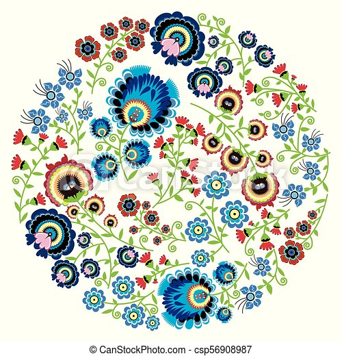 Colorful Polish folk inspired traditional floral pattern in the full moon shape - csp56908987