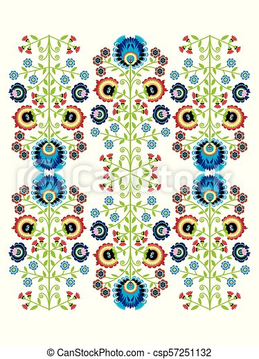 Colorful Polish folk inspired traditional floral pattern in the full moon shape - csp57251132