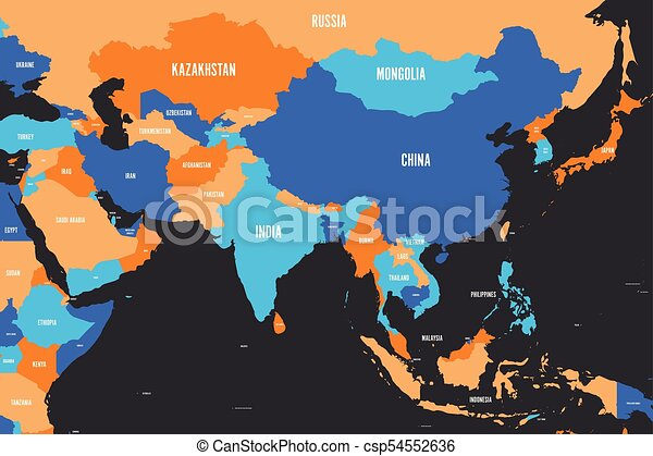 Colorful political map of western, southern and eastern Asia. Simple flat  vector illustration