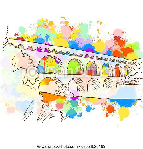 Colorful Pont Du Gard Sketch Hand Drawn Vector Illustration Paint Splatter Color Isolated On White Background Business Canstock