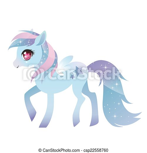 Colorful pony with wings. - csp22558760