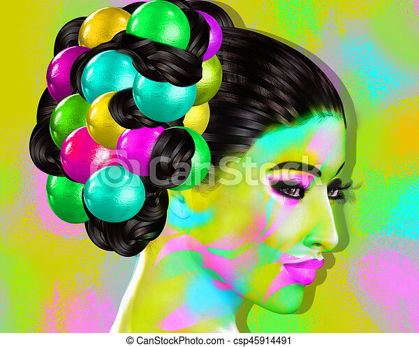 Colorful pop art image of a woman's face. This is a digital art image of a close up woman's face in pop art style. - csp45914491