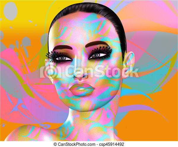 Colorful pop art image of a woman's face. This is a digital art image of a close up woman's face in pop art style. - csp45914492