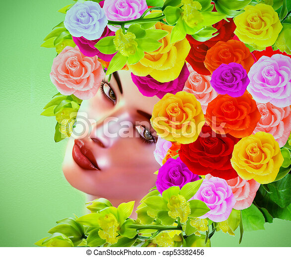 Colorful pop art image of woman's face with flowers in hair. - csp53382456