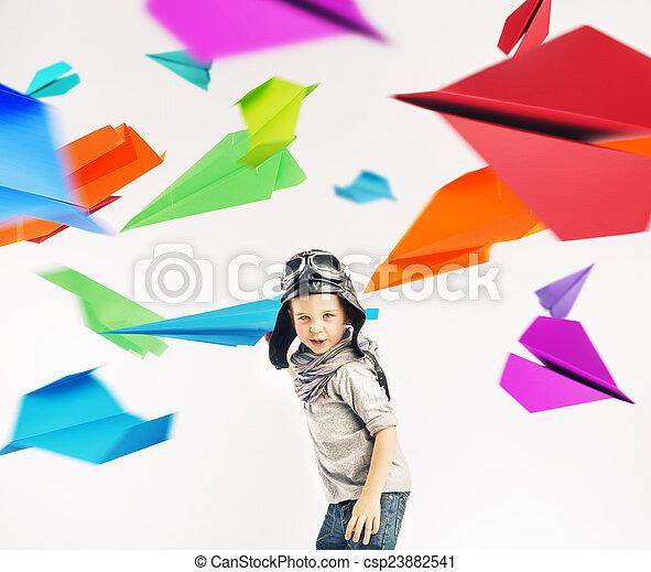 Colorful portrait of a little pilot - csp23882541