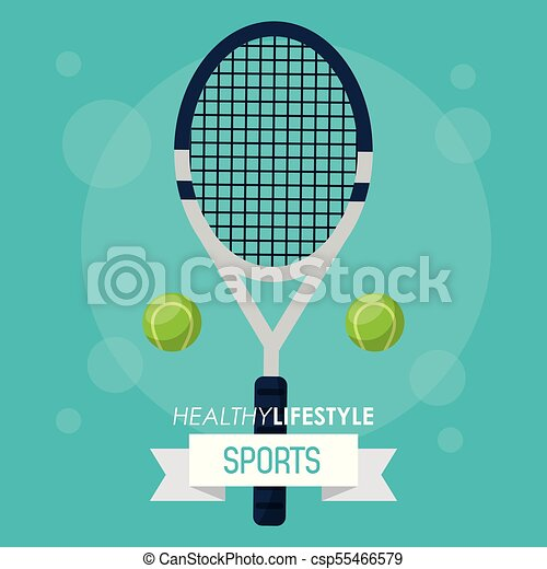 colorful poster of healthy lifestyle sports with tennis racket and balls - csp55466579
