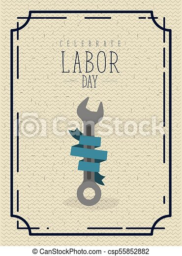 Colorful Poster With Border Vintage Of Celebrate Labor Day With Spanner And Blue Label Decorative