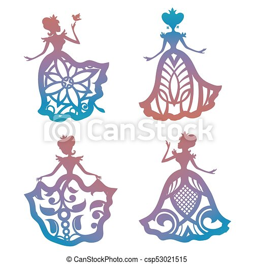 colorful princess silhouette in lacy dresses collection isolated