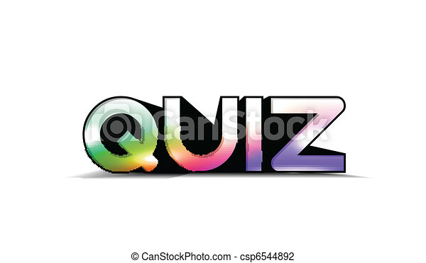 Art Quiz : 3d colorful quiz text isolated on white background. vector