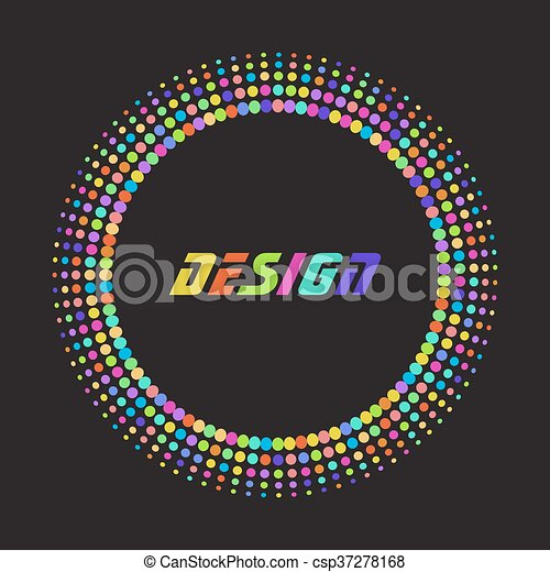 Colorful rainbow Abstract Halftone dot Logo Design Element with place for text on black background, vector illustration - csp37278168