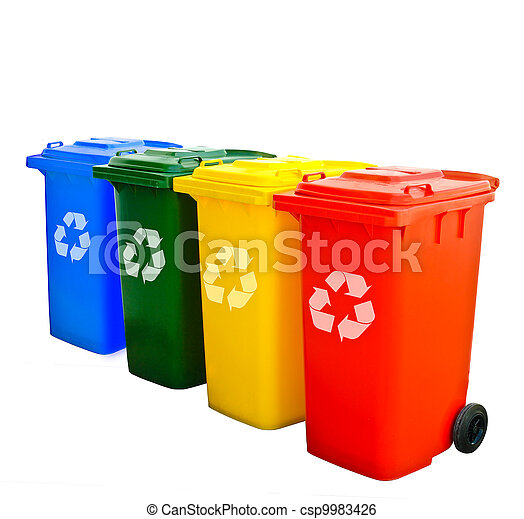 Colorful Recycle Bins Isolated - csp9983426