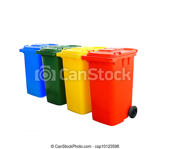Colorful Recycle Bins Isolated  - csp10123598