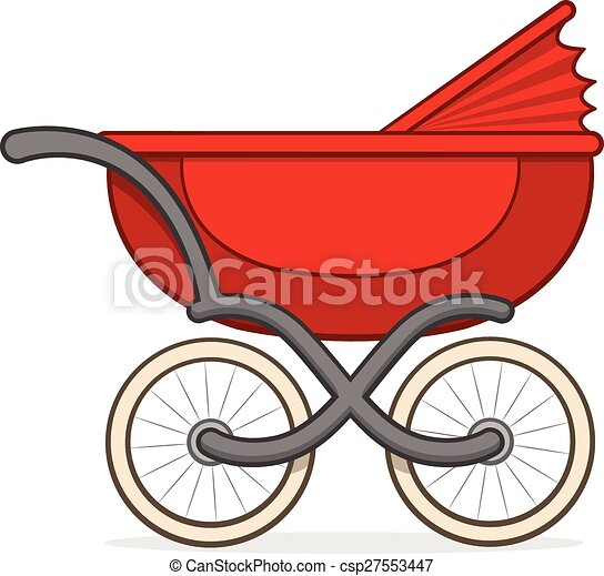 colorful red buggy or baby carriage side view of a colorful eps rh canstockphoto com