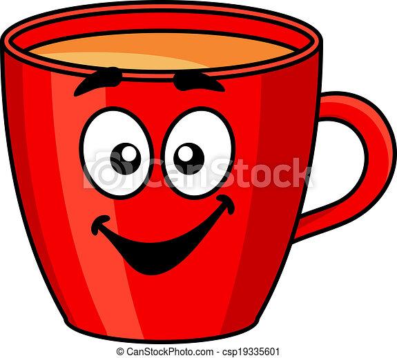 Colorful red cartoon mug of coffee - csp19335601
