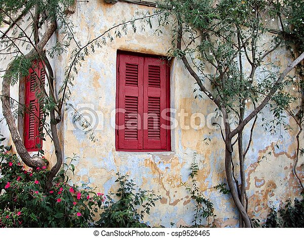 Colorful red shutters - csp9526465
