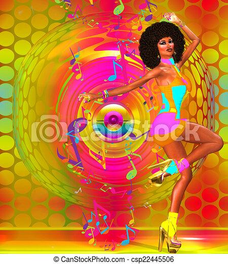 Colorful Retro Disco Dancer - csp22445506