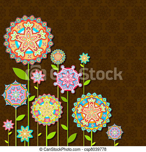 Colorful Retro FLower - csp8039778