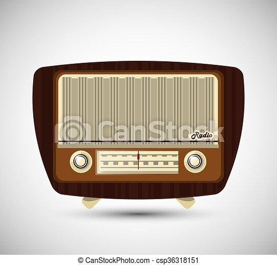 Colorful retro radio design, vector illustration. Retro concept with ...