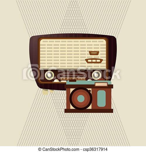 Colorful retro radio design, vector illustration. Retro... vector ...