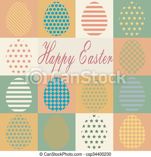 Colorful retro set of isolated Easter eggs. - csp34400230