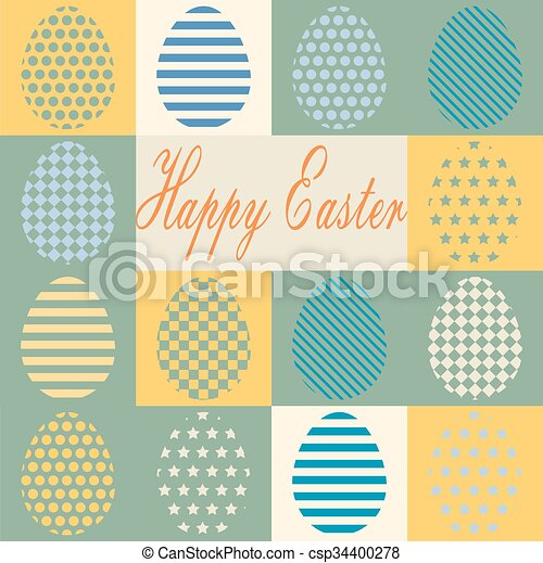 Colorful retro set of isolated Easter eggs. - csp34400278