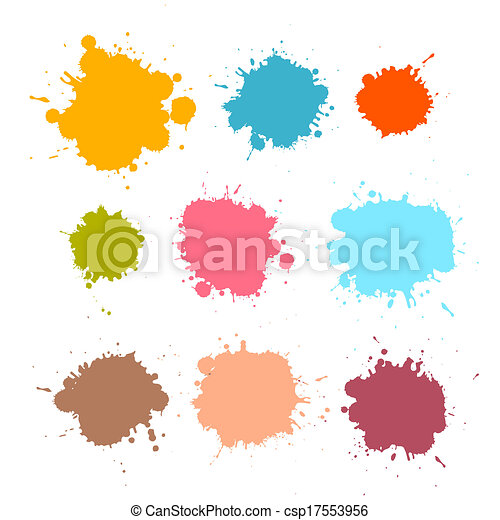 Colorful Retro Vector Stains, Blots, Splashes Set  - csp17553956