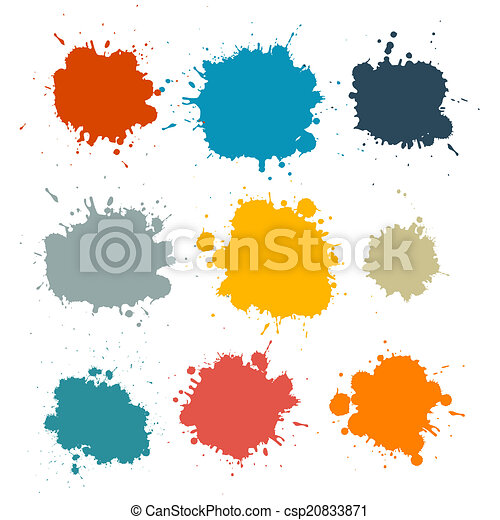Colorful Retro Vector Stains, Blots, Splashes Set - csp20833871