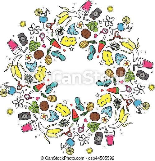 Colorful round vignette, round frame summer. Mandala summer. hand-drawn contour on a white background - csp44505592