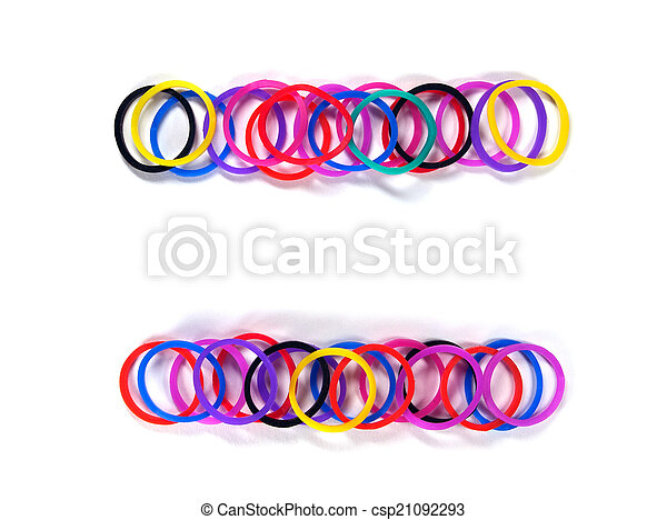 Colorful rubber band frame. Colorful rubber band frame with white isolate,  studio shot.