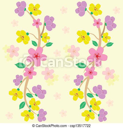 colorful sakura seamless pattern vector - csp13517722