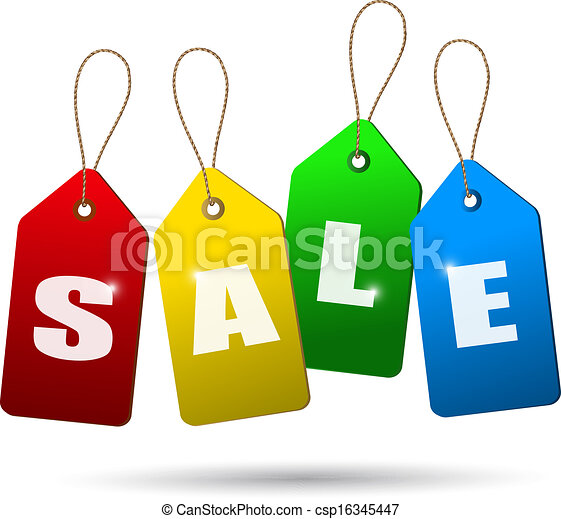 Colorful sale tags. Concept of discount shopping. Vector. - csp16345447