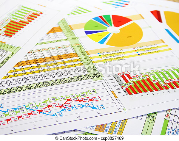 Colorful Sales Report in Digits, Graphs and Charts - csp8827469