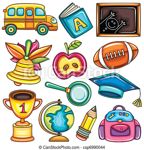 Colorful school icons  - csp6990044