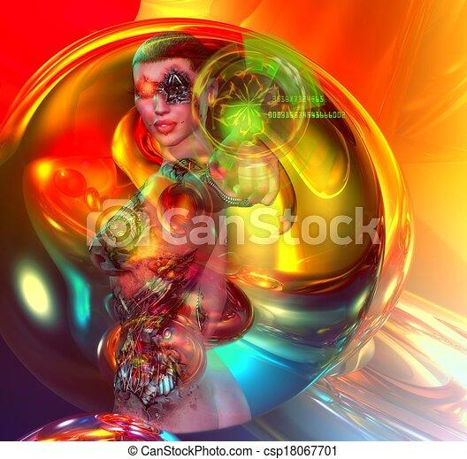 Colorful Sci-fi girl robot - csp18067701