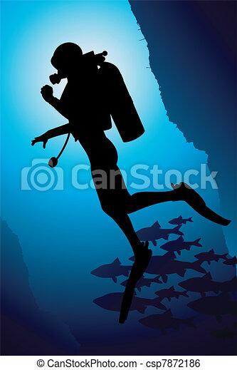 Colorful scuba diver vector - csp7872186