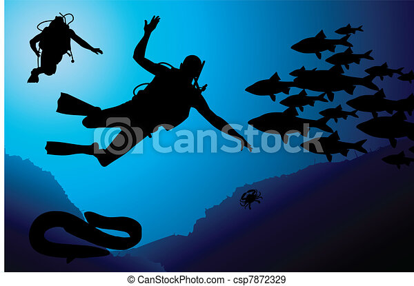 Colorful scuba diver vector - csp7872329