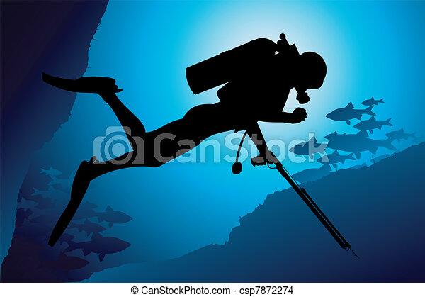 Colorful scuba diver vector - csp7872274