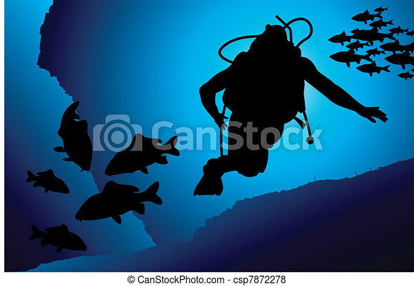 Colorful scuba diver vector - csp7872278