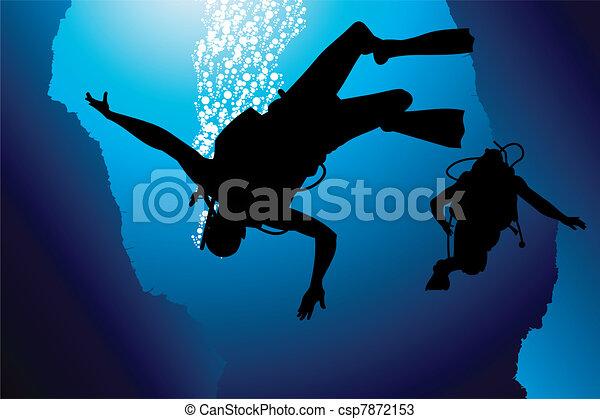 Colorful scuba diver vector - csp7872153