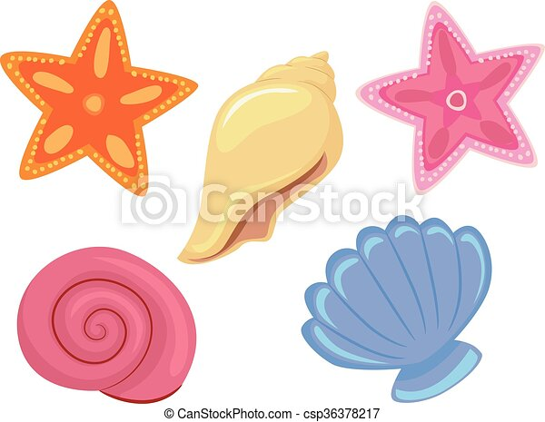 vector illustration of colorful sea shells and starfish vector clip rh canstockphoto ca Octopus Clip Art Pink Starfish