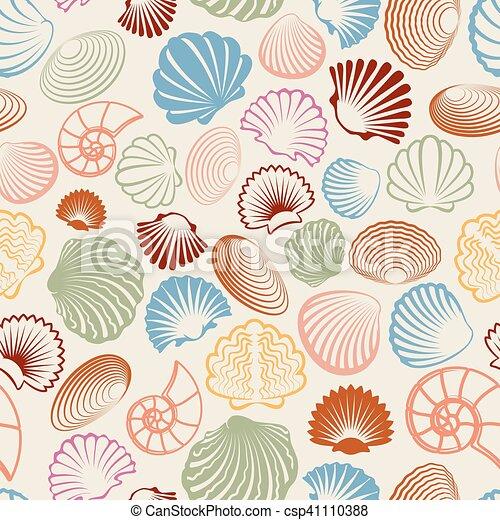 Colorful sea shells seamless pattern - csp41110388