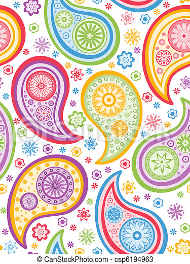 Colorful seamless paisley pattern. - csp6194963