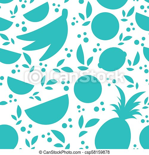 Colorful Seamless Pattern Of Silhouettes Tropical Fruits On A White Background Simple Flat Vector Illustration For The Design Paper Wallpaper