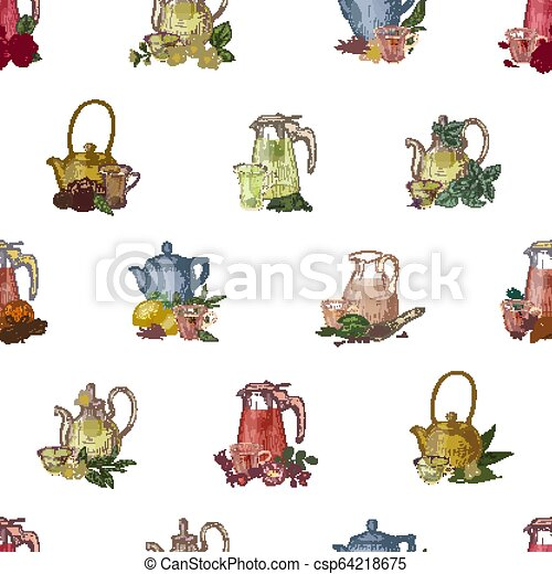 Colorful seamless pattern with hand drawn tools for brewing and drinking tea - glass teapot, cup, lemon, herbs and spices. Elegant vector illustration for textile print, wrapping paper, wallpaper. - csp64218675