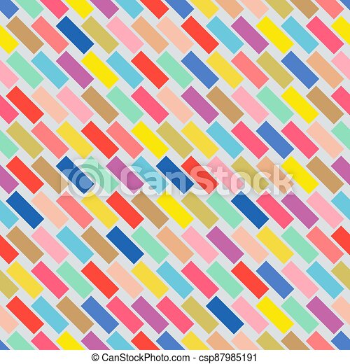 Colorful seamless pattern with rectangle mosaic shapes. Brick wall endless background. Funky children design - csp87985191