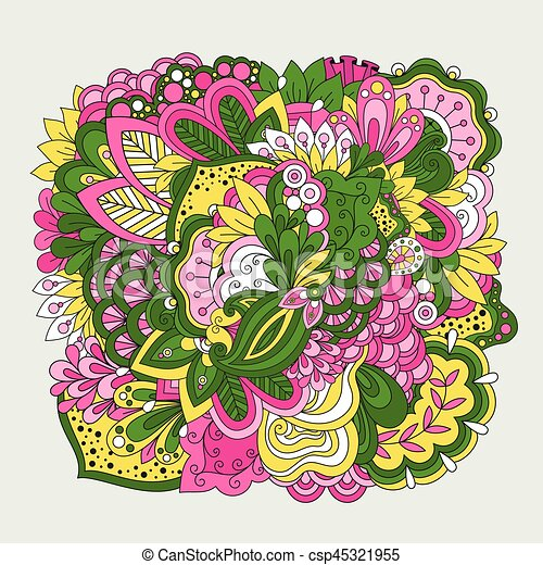 Colorful set of doodle flowers - csp45321955