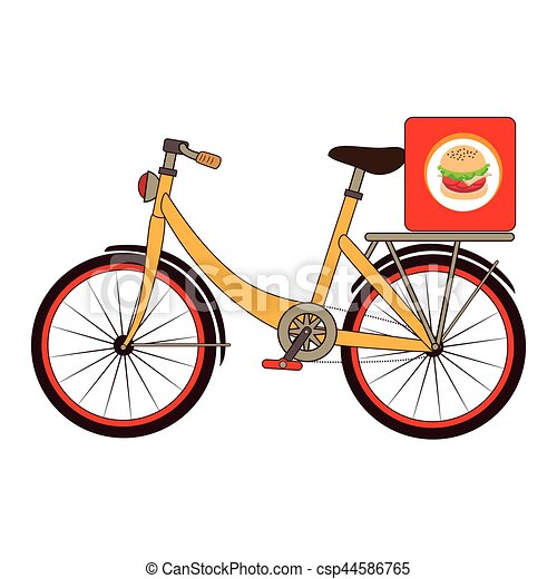 colorful set with bicycle and box for fast food - csp44586765