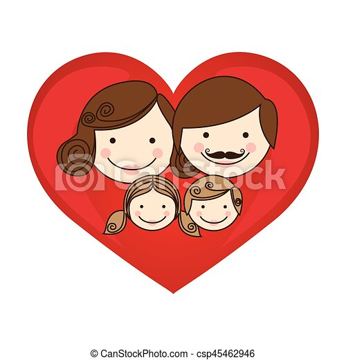 colorful silhouette cartoon heart with family faces - csp45462946