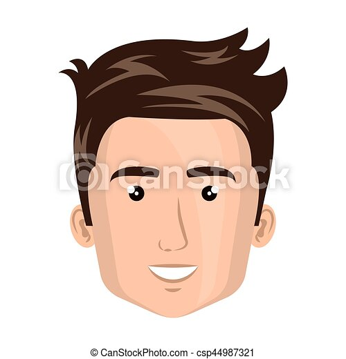 colorful silhouette front view man face vector illustration